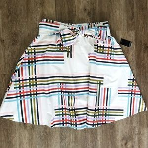 NWT Eloquii White Striped Belted A-line Skirt
